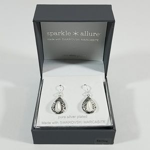 Marcasite Pure Silver Over Brass Earrings
